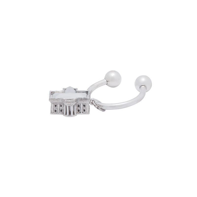 3D White House Sterling Silver Key Chain