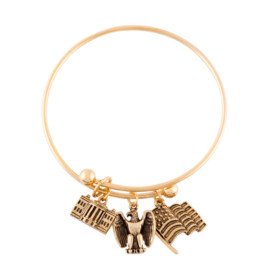 Adjustable Bangle with Three Charms in Gold Finish