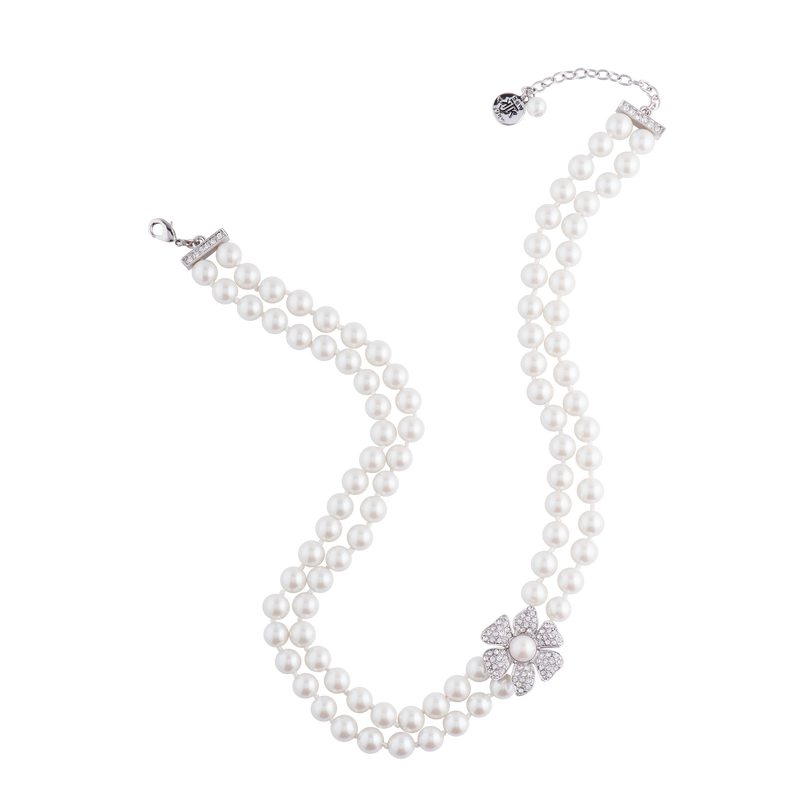Double Strand Pearl Necklace with Pavé  Flower
