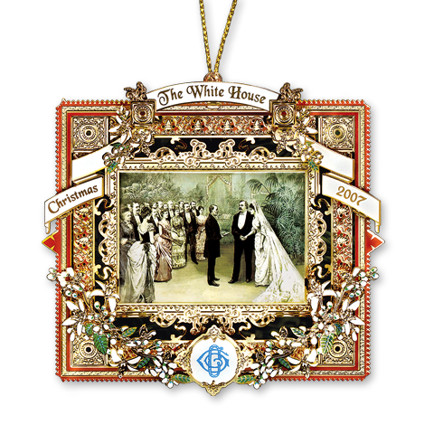 2007 White House Christmas Ornament, A President Marries in the White House-Front