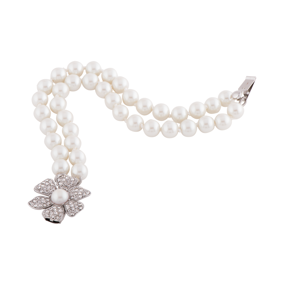Double Strand Pearl Bracelet with Pavé  Flower