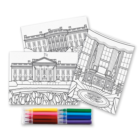 White House Postcards to Color