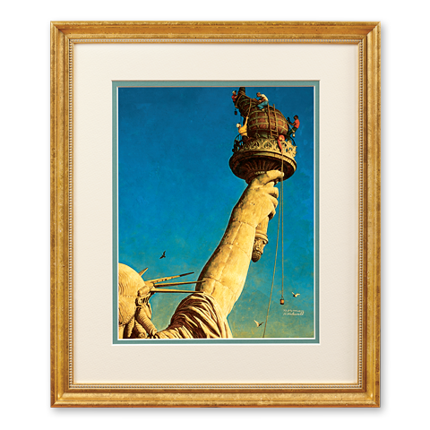 Reproduction of Norman Rockwell's painting The Statue of Liberty was created in 1946