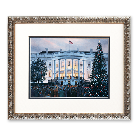 framed reproduction of Tom Freeman's 2002 painting The White House Christmas Tree Lighting Ceremony December 1941