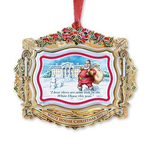 2011 White House Christmas Ornament, Santa Visits the White House