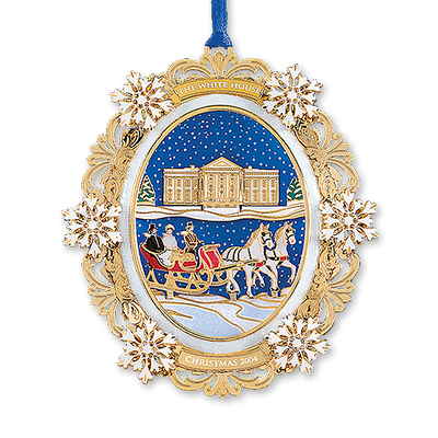2004 White House Christmas Ornament, A First Family's Sleigh Ride-Front