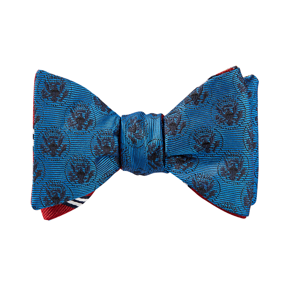 Brooks Brothers Blue Double-Sided Truman Seal Bow Tie