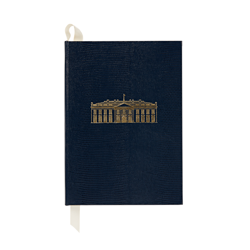 Large Dark Navy White House Notebook