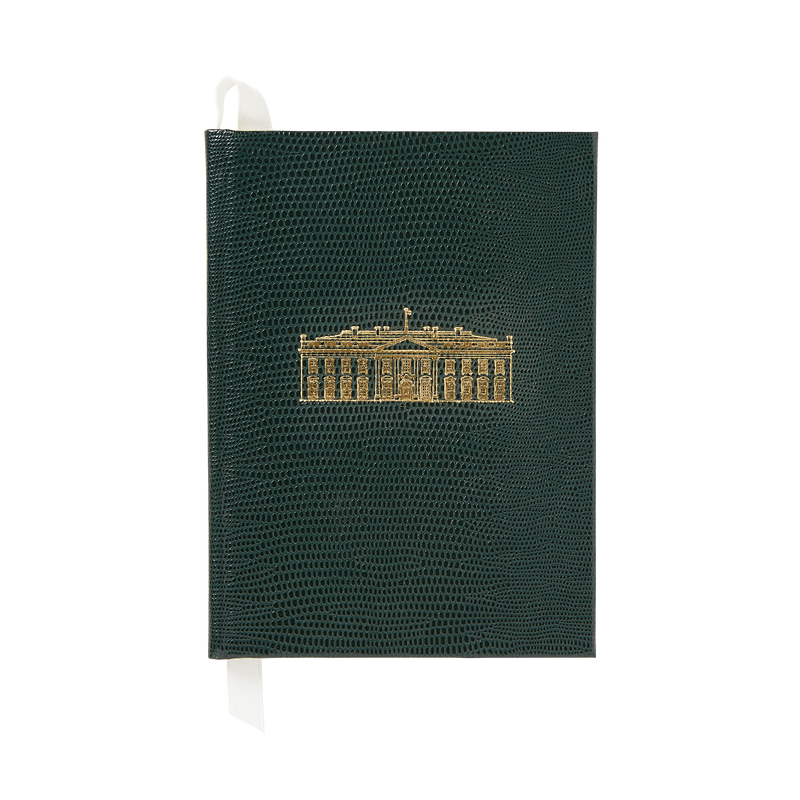 Small Emerald Green White House Notebook-Front
