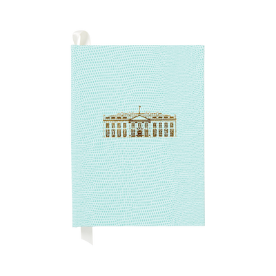 Small Soft Teal White House Notebook