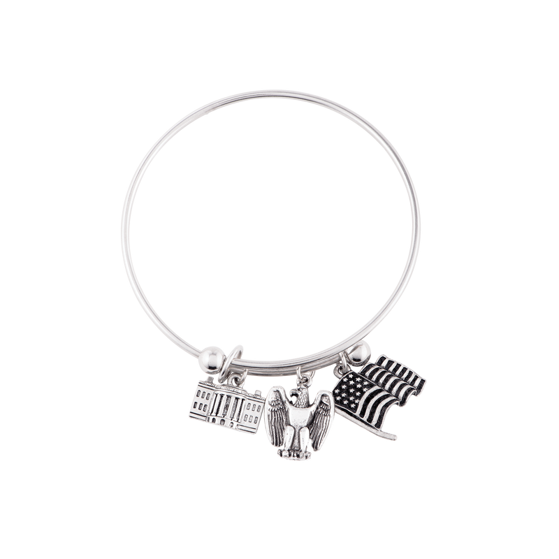 Adjustable Bangle with Three Charms in Silver Finish
