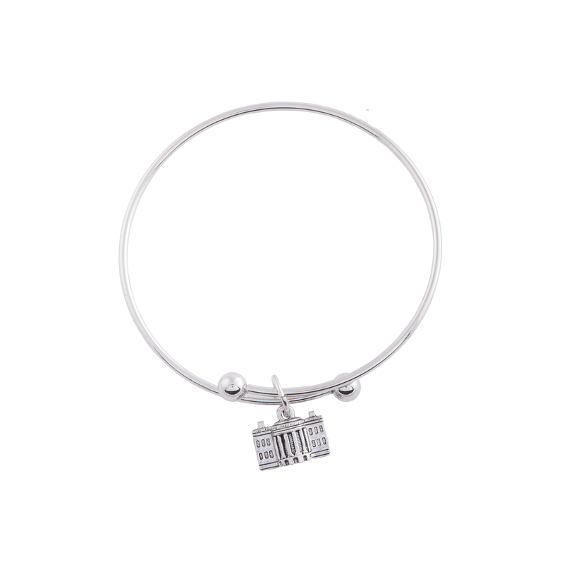 Adjustable Bangle with White House Charm in Silver Finish