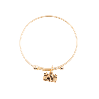 Adjustable Bangle with White House Charm in Gold Finish