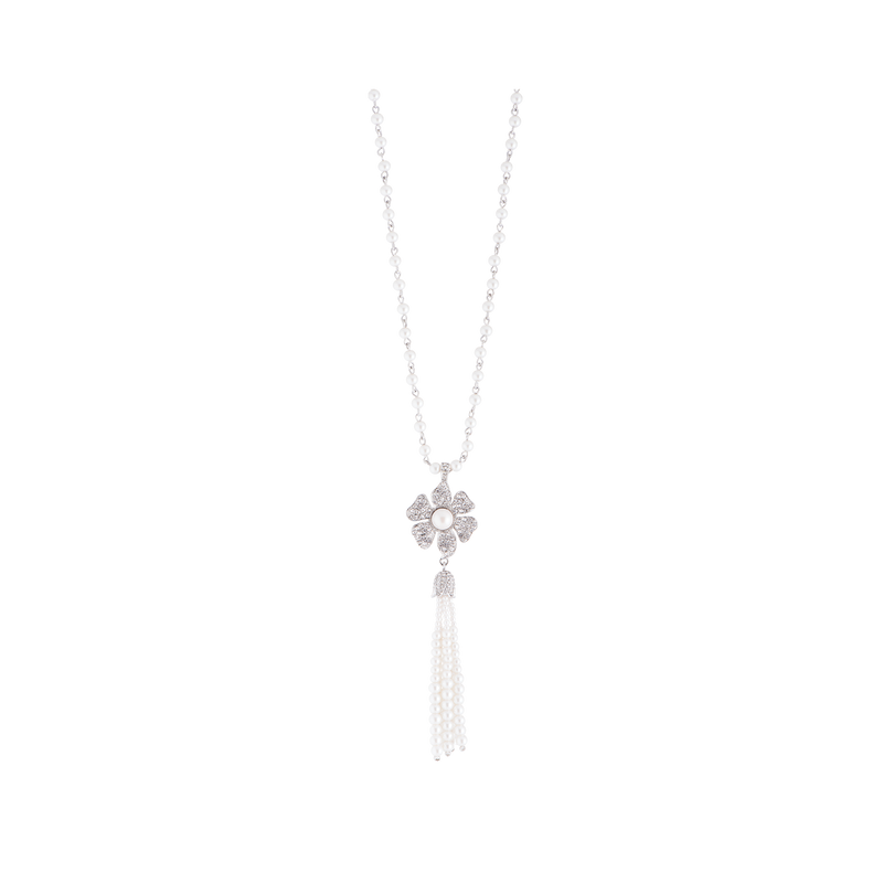 Drop Necklace with Pavé  Flower and Pearl Tassel