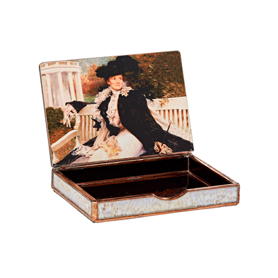 Glass decoupage box depicting a painting by artist John Ross Key-inside