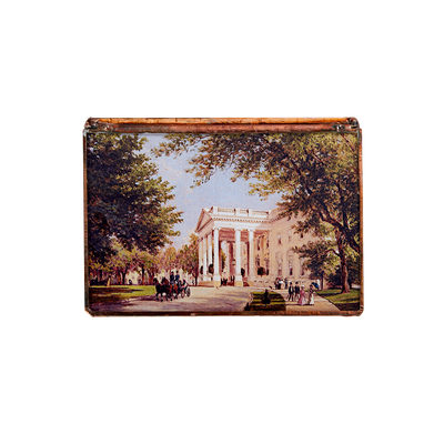 Glass decoupage box depicting a painting by artist John Ross Key-top