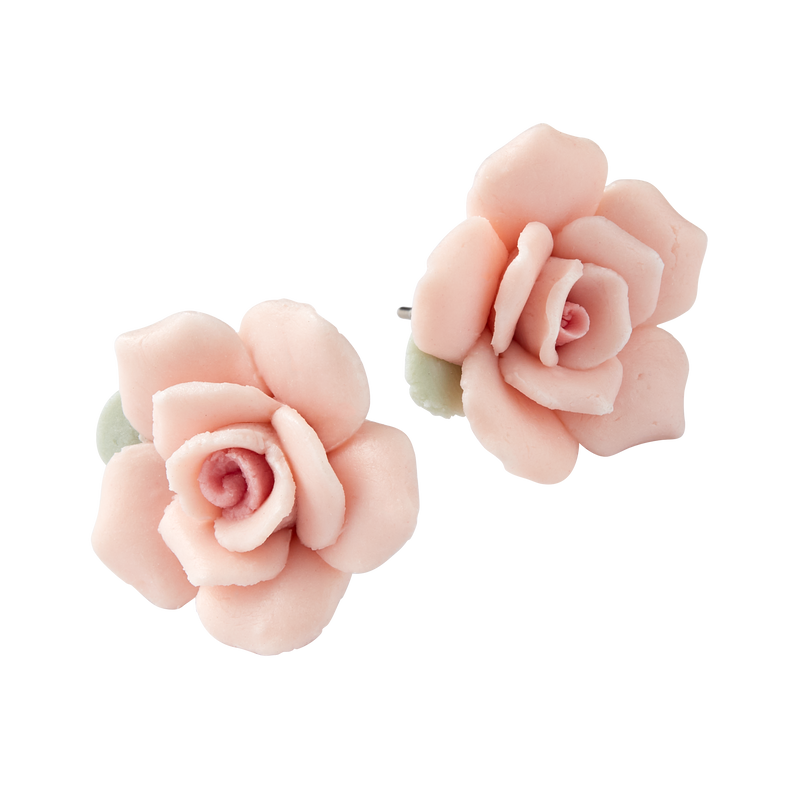 Porcelain Rose Stud Earrings