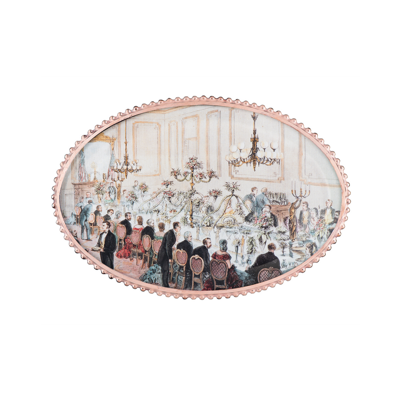 State Dining Room Oval Decoupage Wine Coaster
