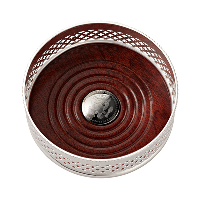 Silver and Mahogany Wine Coaster