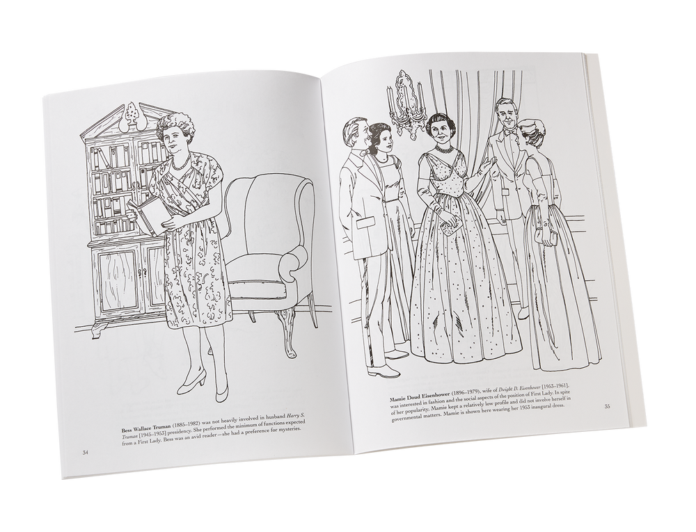 America's First Ladies Coloring Book-Open Page