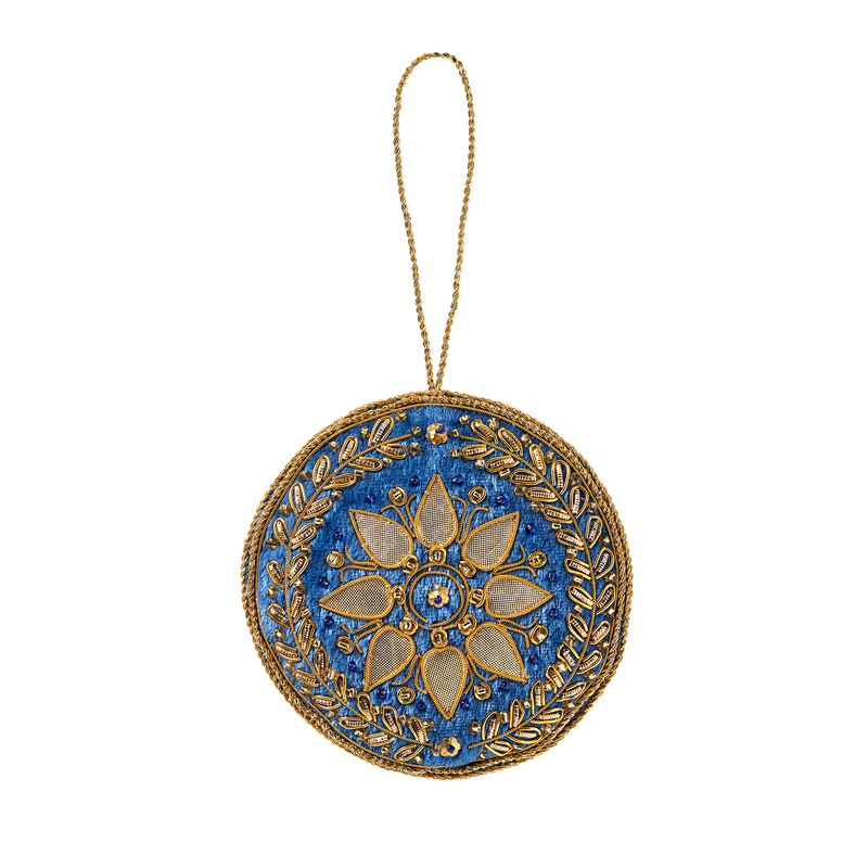 Blue Room Sunburst Felt Ornament-Front