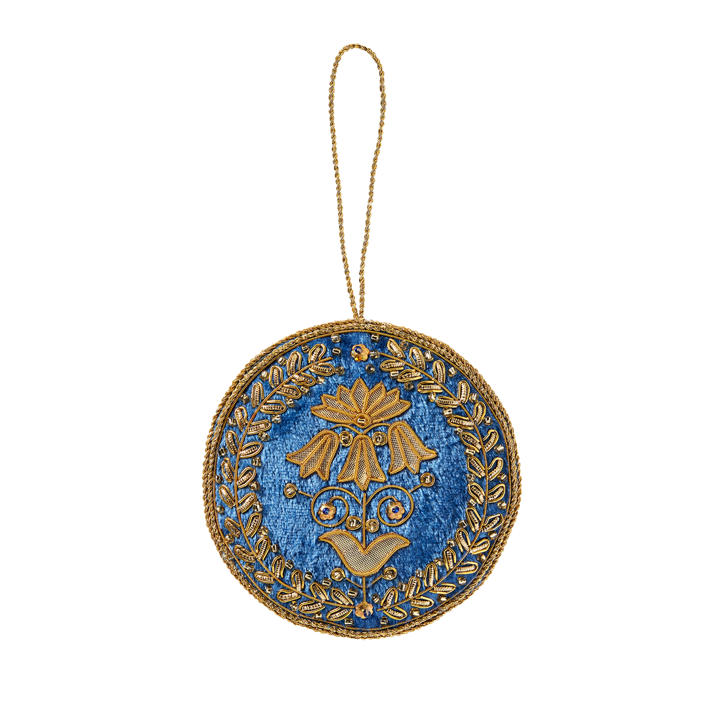 Blue Room Floral Felt Ornament