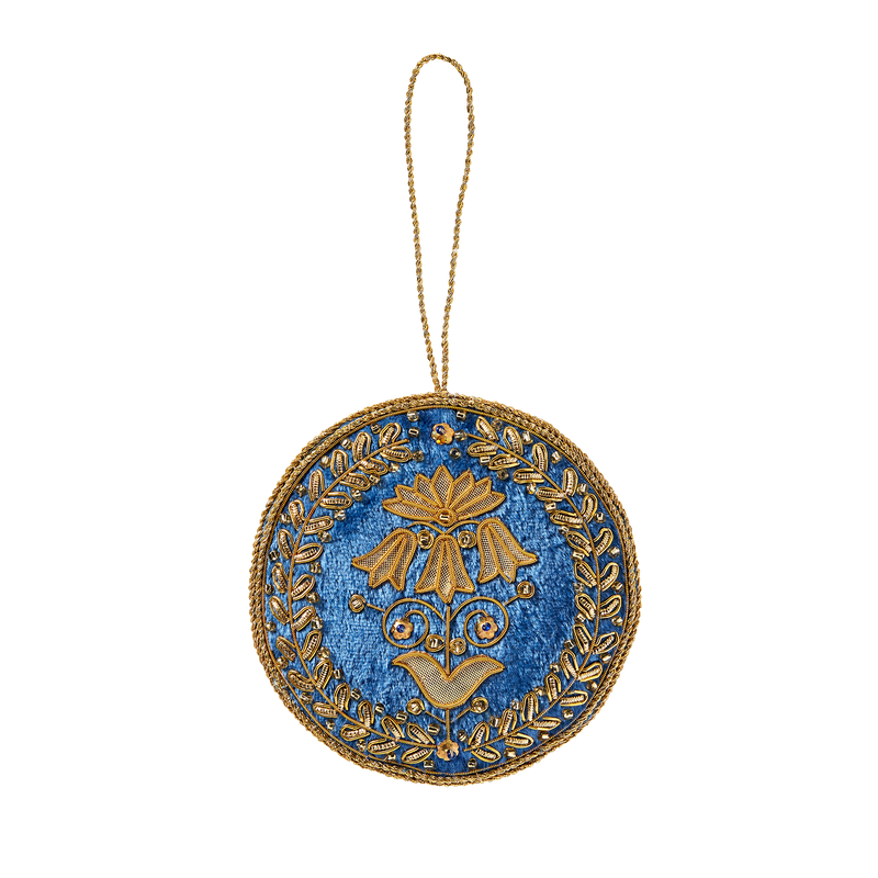 Blue Room Floral Felt Ornament-Front