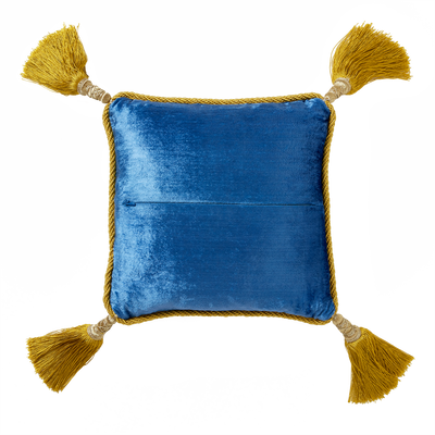 Blue Room Floral Pillow with Gold Tassels