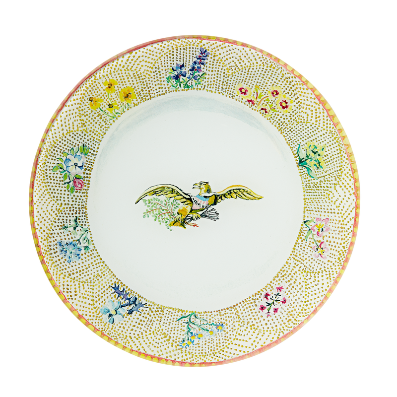 Small Decoupage Johnson State Service Plate-Front