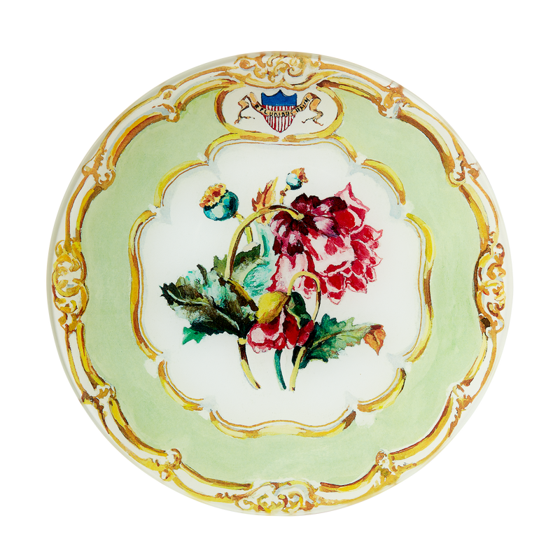 Large Decoupage Polk State Service Plate-Front