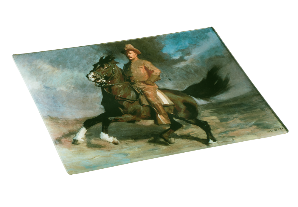 Teddy Roosevelt Decoupage Glass Plate