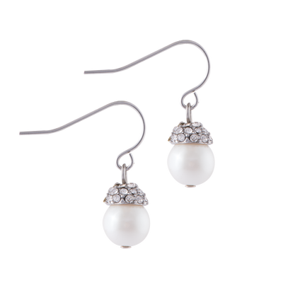 Pavé Earrings with Pearl Drop