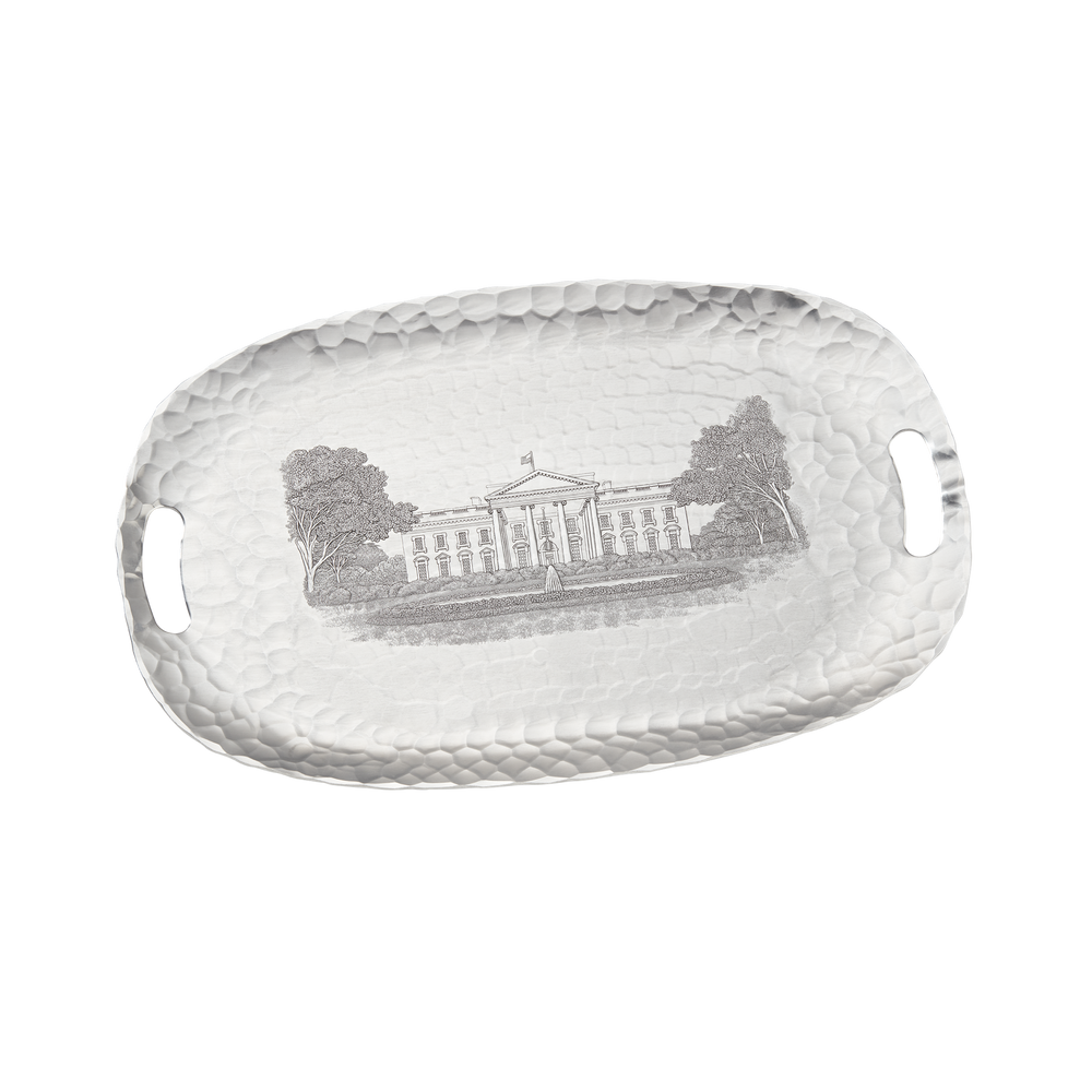 Large Engraved White House Tray