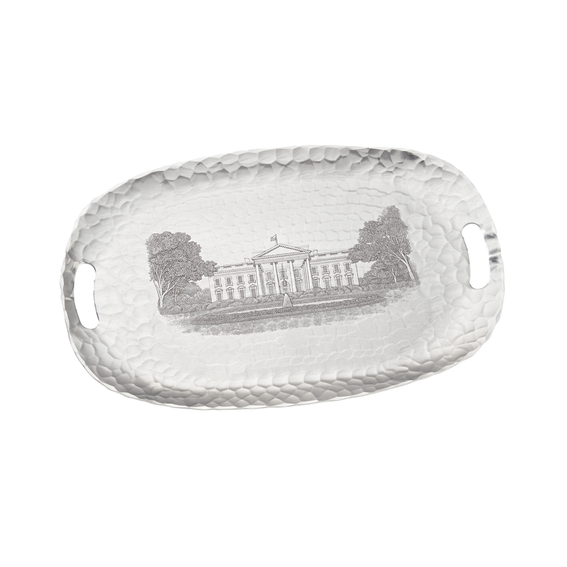 Large Engraved White House Tray-Front