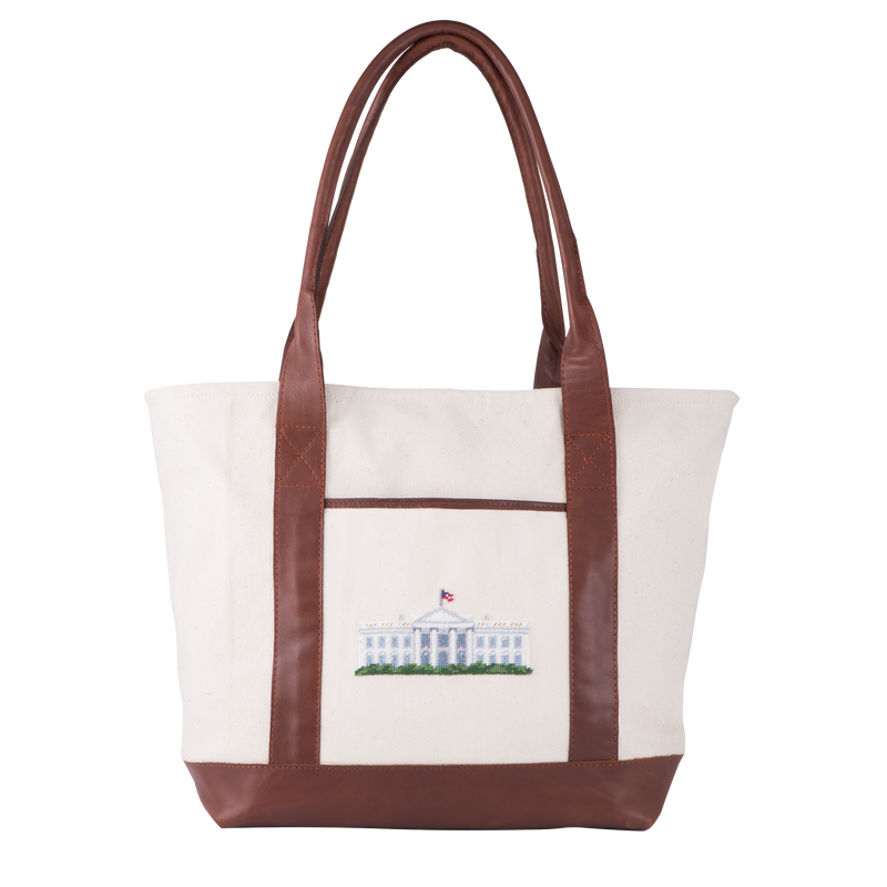 Smathers & Branson Needlepoint White House Tote-Front