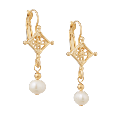 Drop Pearl Earrings with Gold Accent