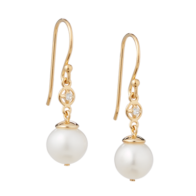 Cubic Zirconia Pearl Drop Earrings