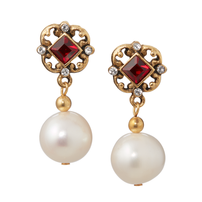 Red Crystal and Pearl Earrings