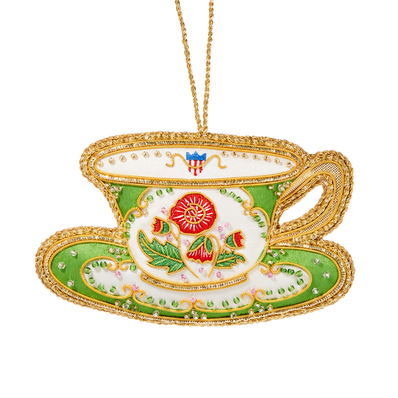 Polk China Teacup Ornament-Front