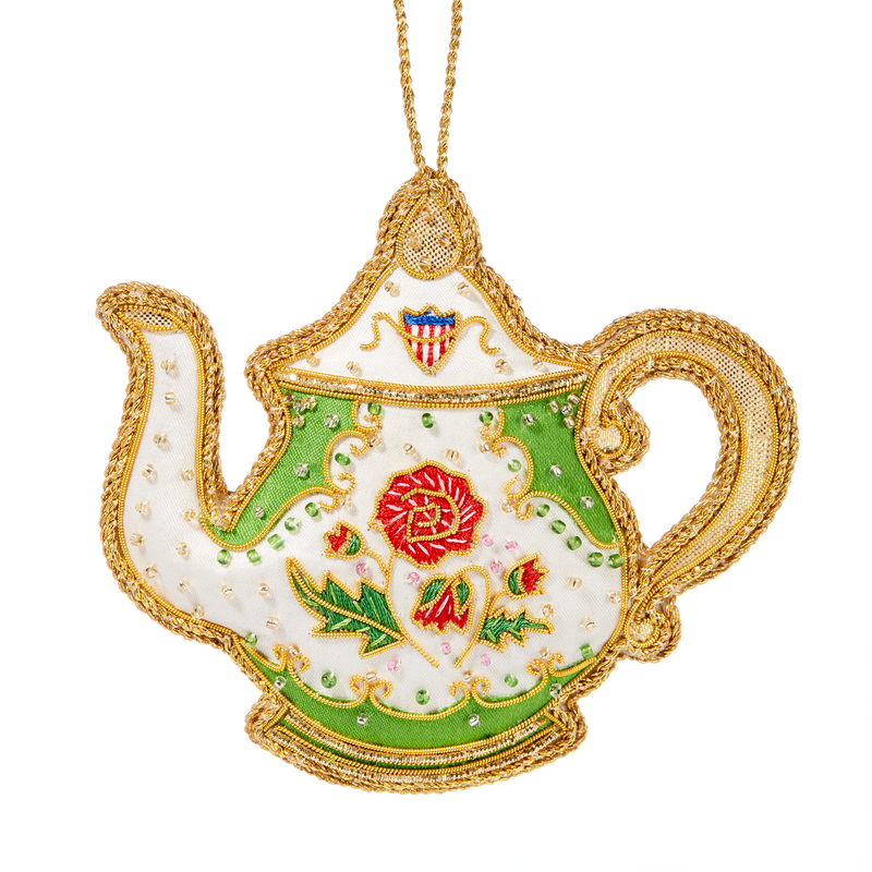 Polk China Teapot Ornament-Front