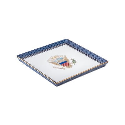 Indigo Wave Canape Plate with Eagle