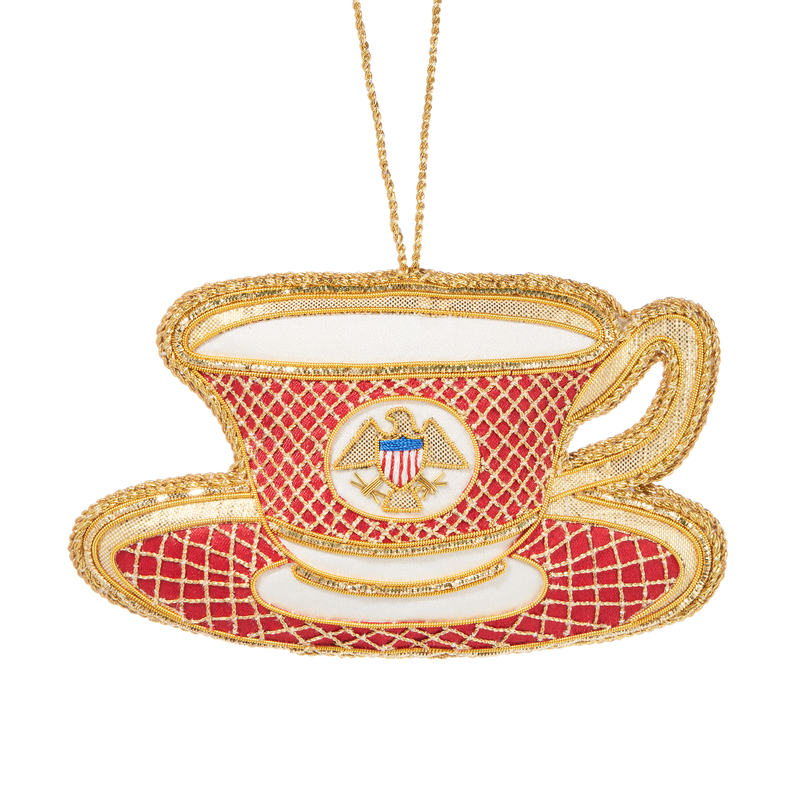 Reagan China Teacup Ornament-Front