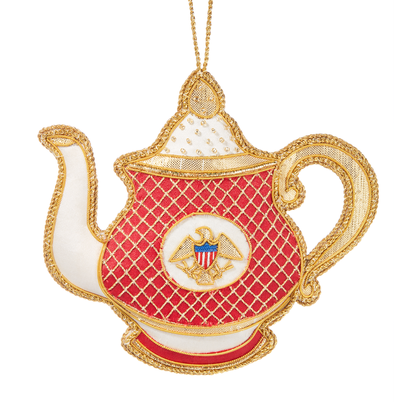 Reagan China Teapot Ornament-Front