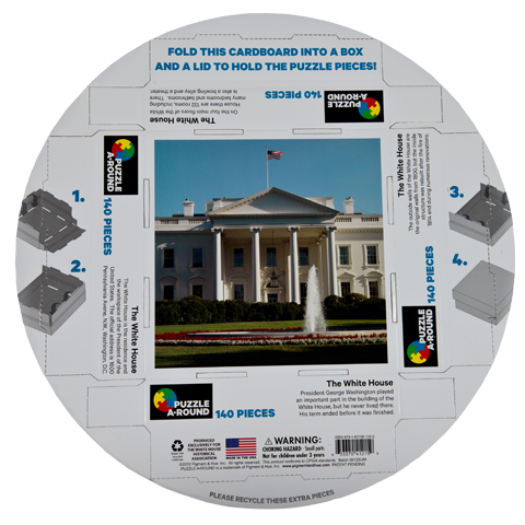 White House Round Puzzle-Back of Box