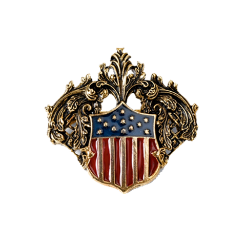 This gold pin replicates the gilded crest mirror in the Lincoln bedroom.