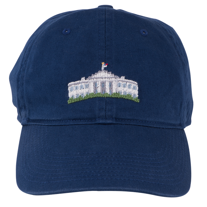 Smathers & Branson Navy Needlepoint White House Hat-Front