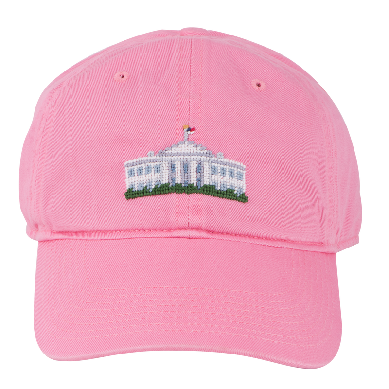 Smathers & Branson Pink Needlepoint White House Hat-Front
