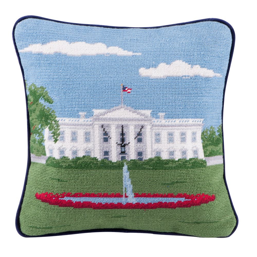Smathers & Branson 16-inch Square Needlepoint White House Pillow North Portico-Front