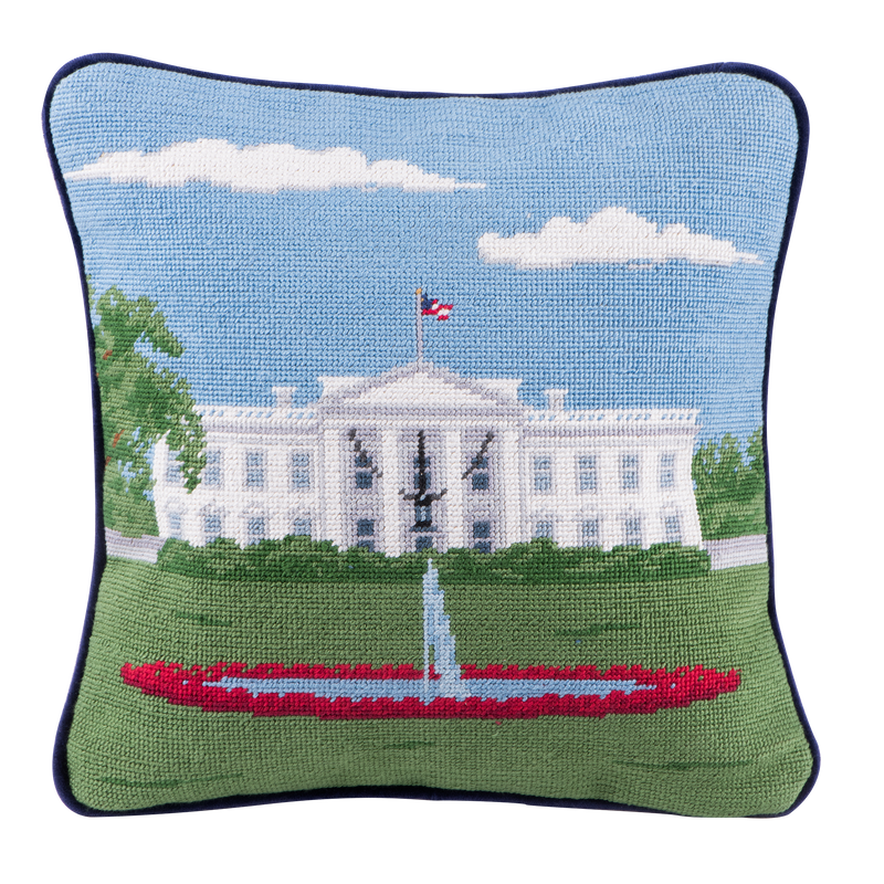 Smathers & Branson 12-inch Square Needlepoint White House Pillow North Portico