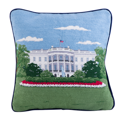 Smathers & Branson 16-inch Square Needlepoint White House Pillow South Portico-Front
